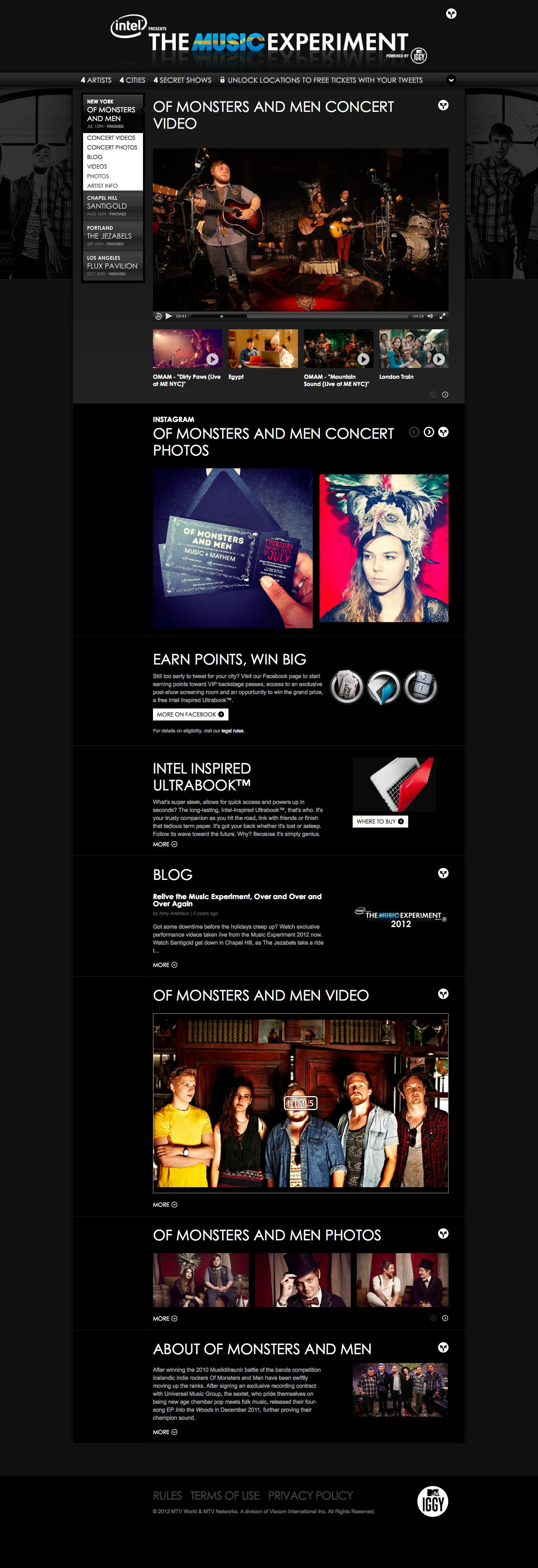 MTV Iggy's The MusicExperiment - Desktop, Tablet, & Mobile Design with Omnigon